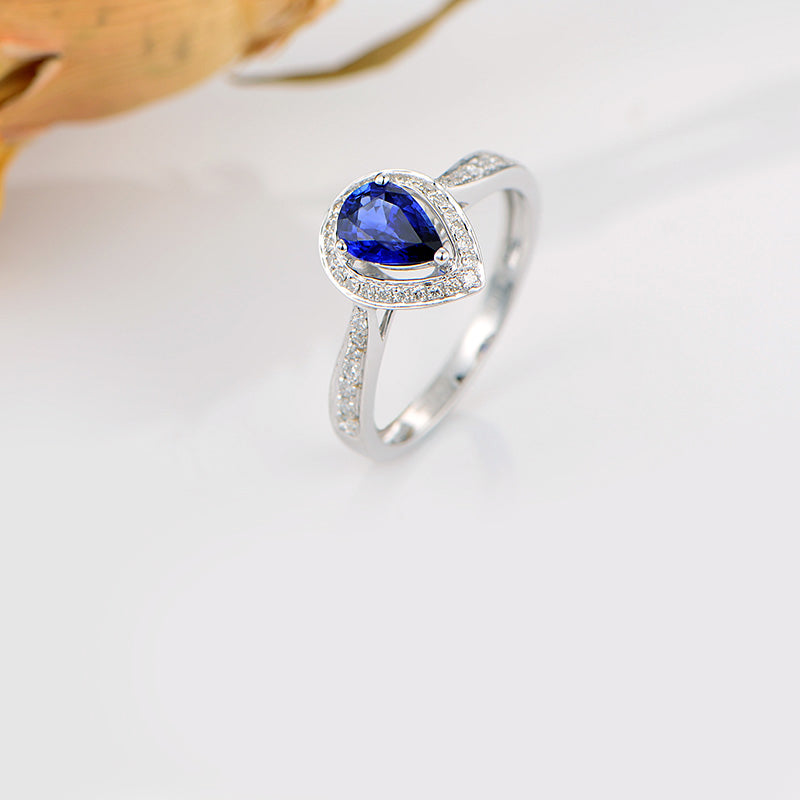 Halo Pear Created Blue Diamond Ring