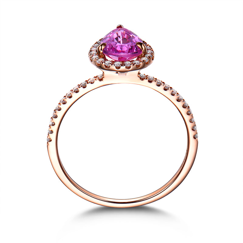 Rose Gold Color Pink Pear Created Sapphire Rings