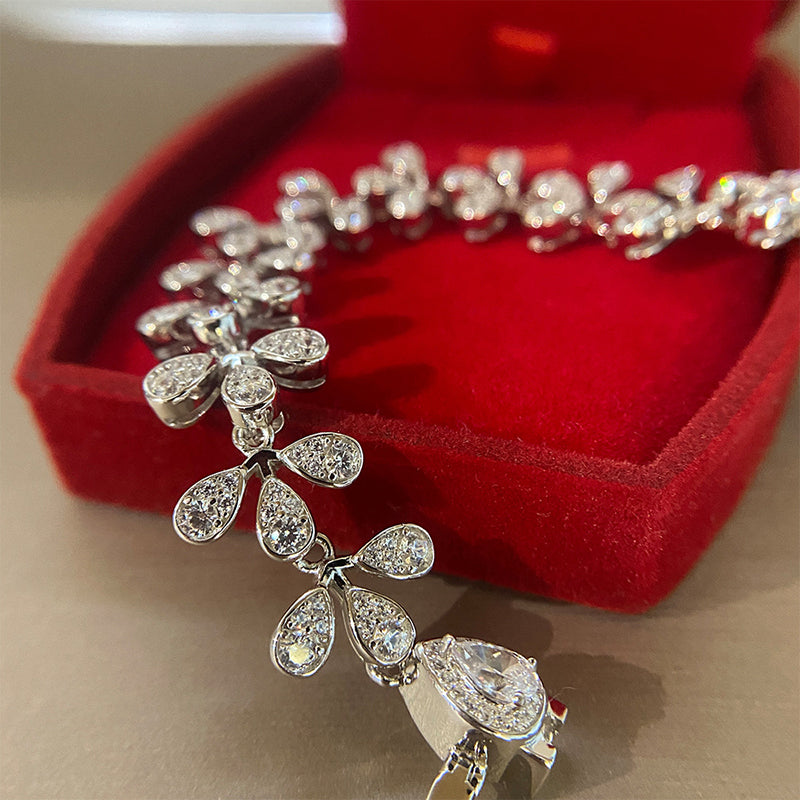 Dainty Sterling Sliver Flower Blossom Shaped Bracelets for Women