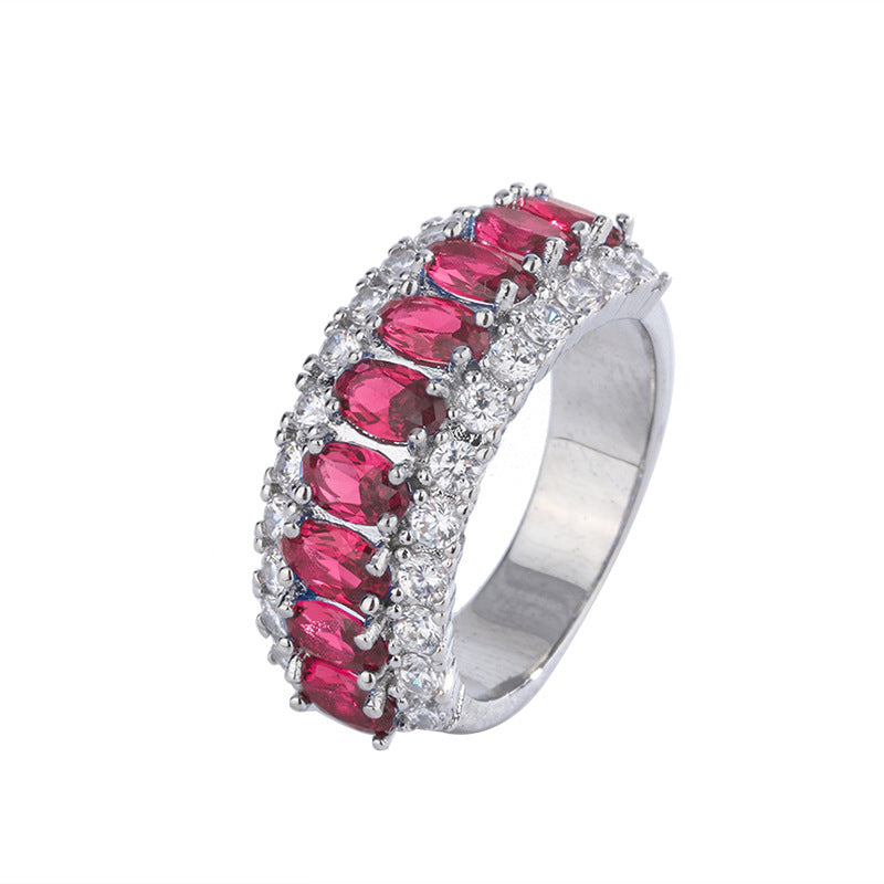 Vintage Half Eternity Oval Cut Lab Created Ruby/Sapphire Gemstone Ring