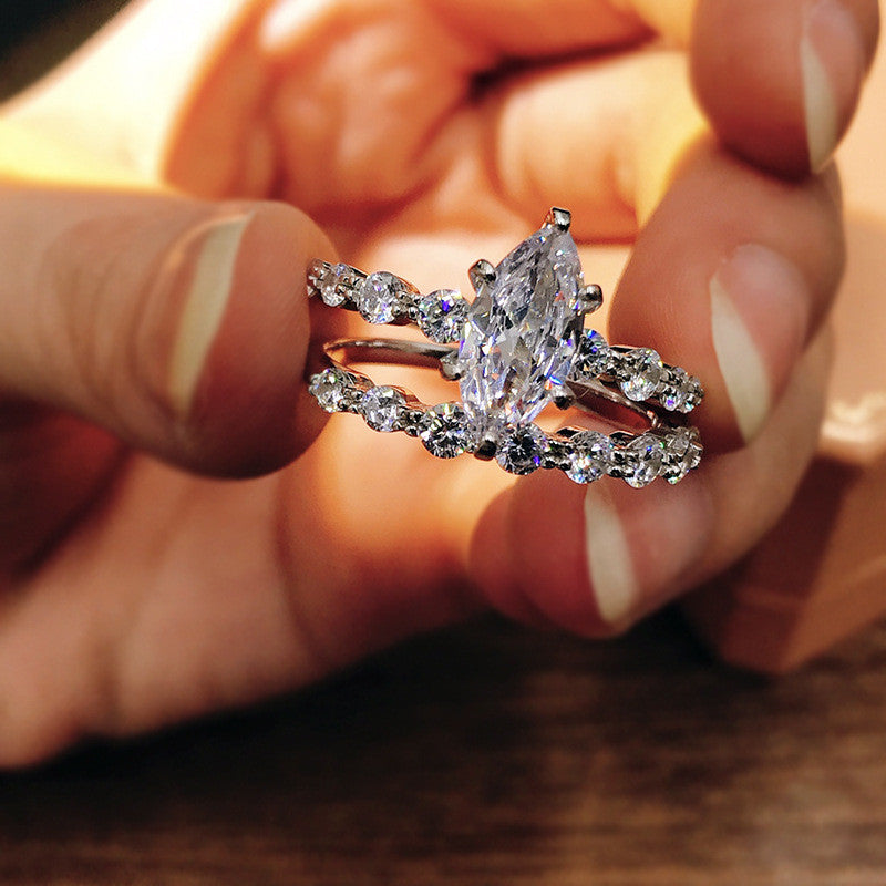 Marquise Cut Created Diamond Bridal Ring Sets
