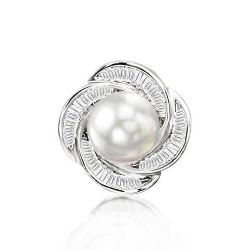 Rose Design White Pearl Stud Earrings