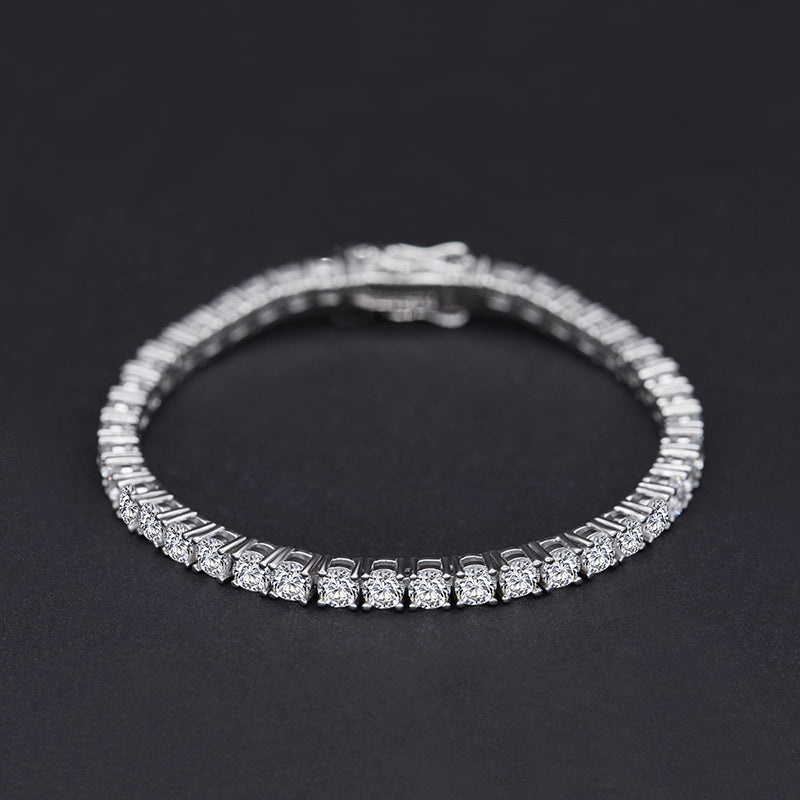 3.75mm Classic Round Cut Created White Diamond Bracelet