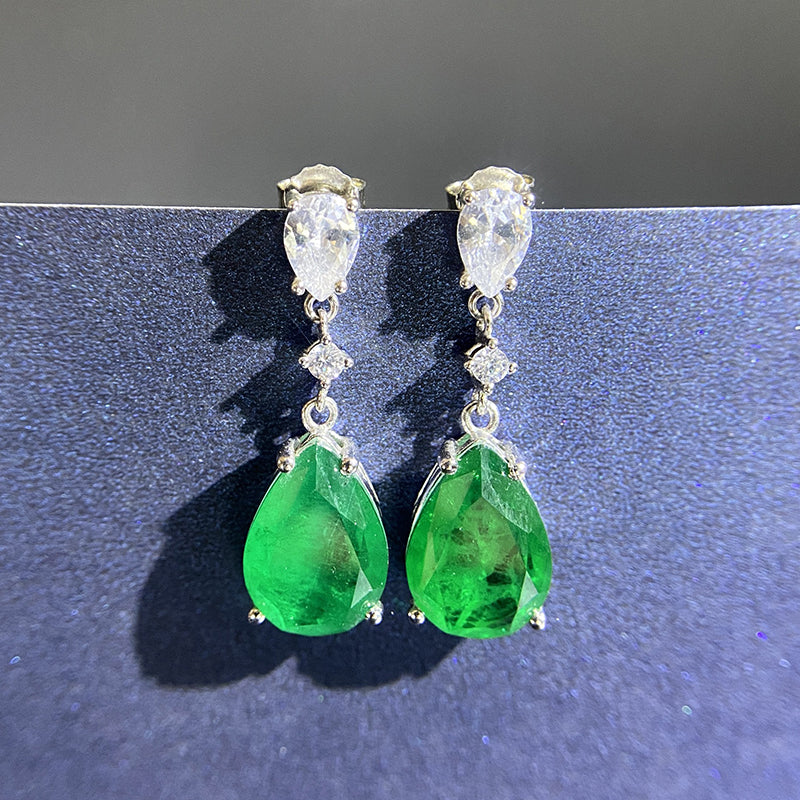 Elegant Sterling Sliver Green Created Sapphire Stud Drop Earrings for Women