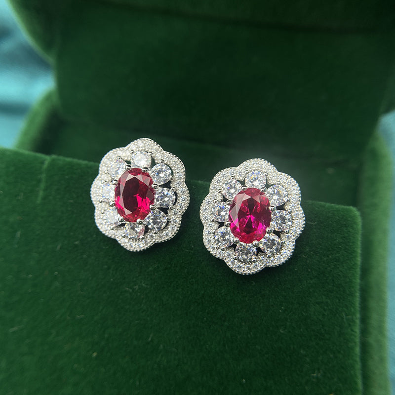Flower Sterling Sliver Stud Earrings with Red Created Sapphire for Women
