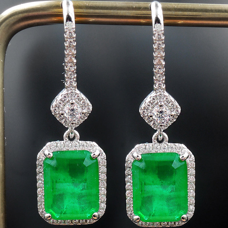 Halo Radiant Cut Lab Created Emerald Vintage Hook Earrings