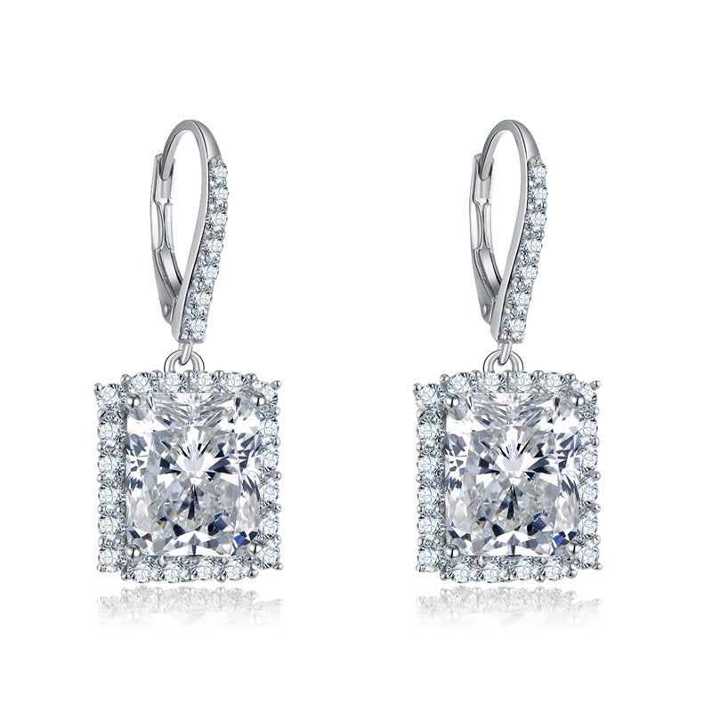 Princess Shape Created Diamond Drop Hook Earrings