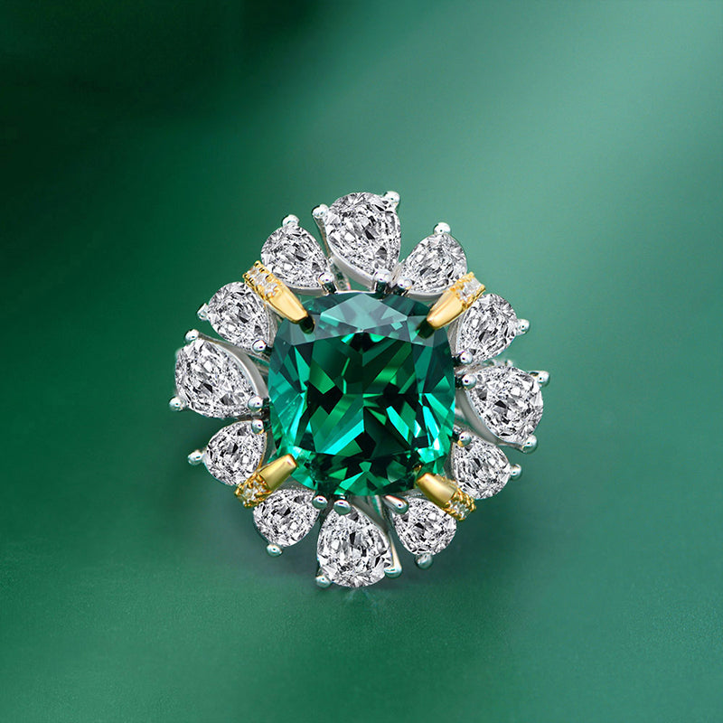 Cushion Cut Halo Green/Red Created Diamond Ring