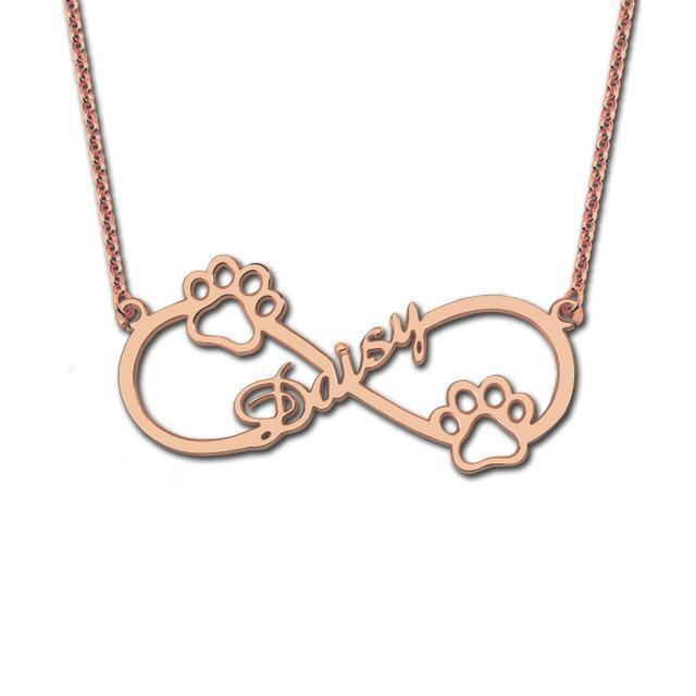18K Rose Gold Infinity Circle Engraved Name Necklace Paw Dog Pendant