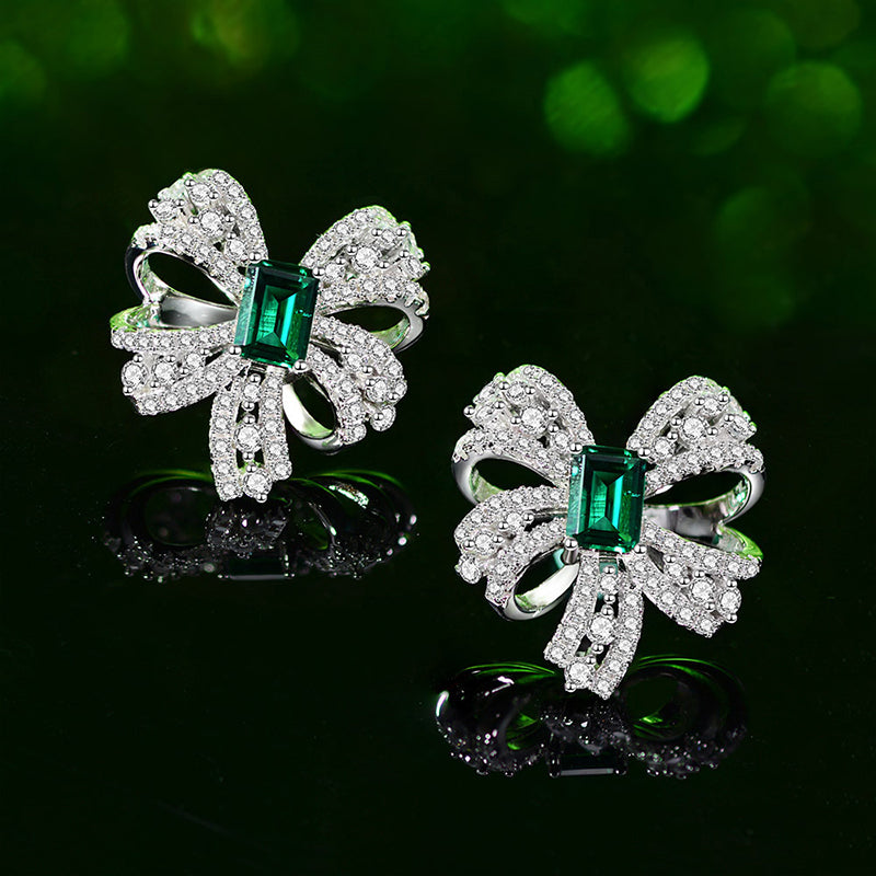 Classic Sterling Sliver Bowknot Green Created Sapphire Stud Earrings for Women