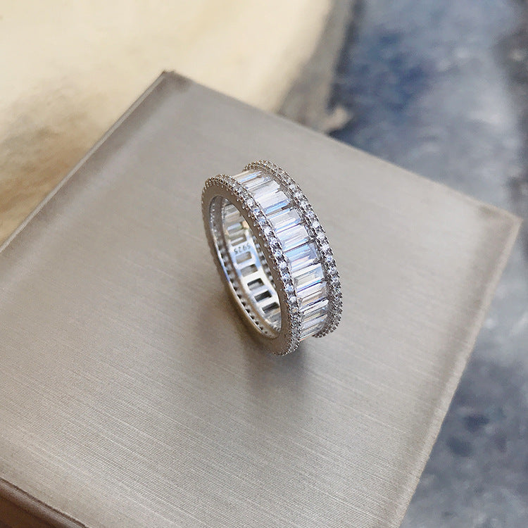 Emerald Cut Created Diamond Full Eternity Ring