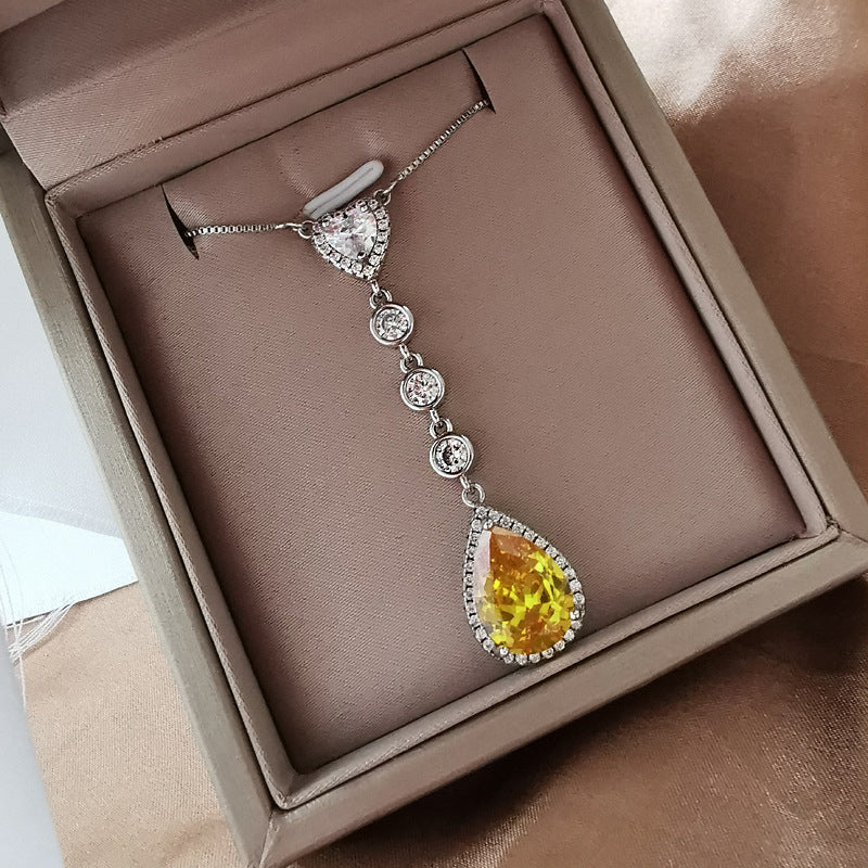 Pear Shaped Yellow Created Diamond Drop Pendant Necklace
