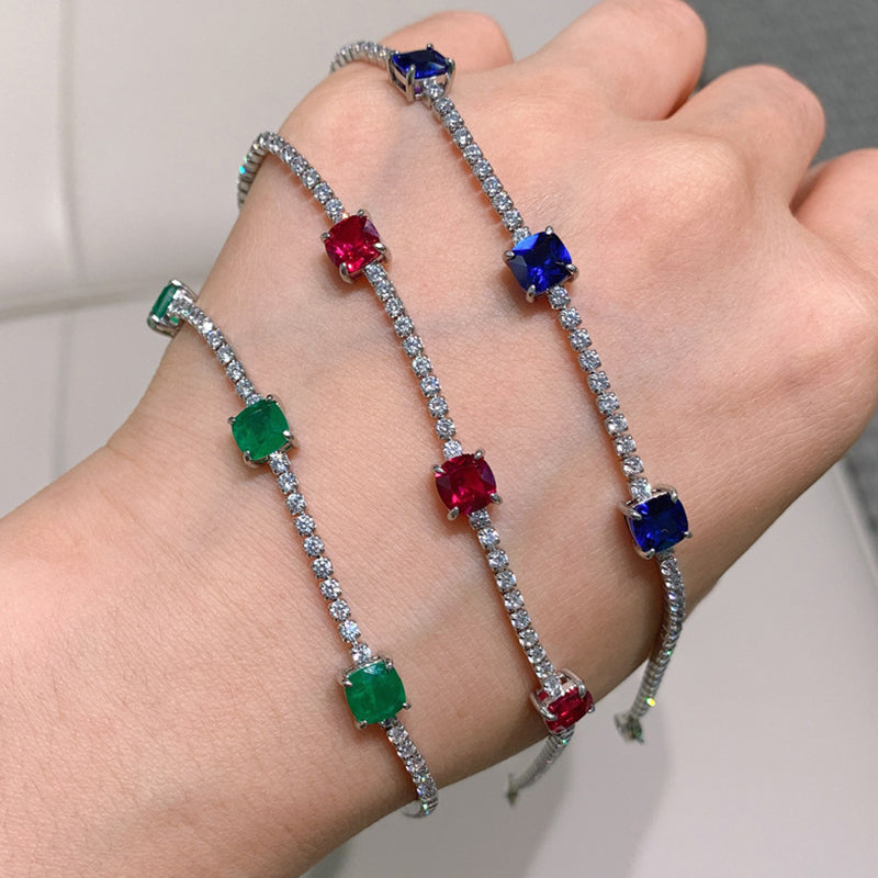 Vintage Cushion Cut Lab Created Emerald/Ruby/Sapphire Tennis Bracelet