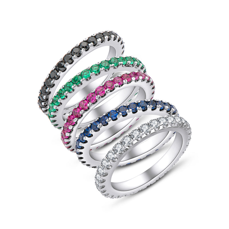 Infinity Round Cut Created Diamond Stackable Full Eternity Ring
