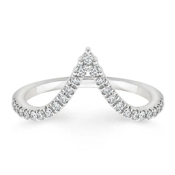 V-shaped Round Created Diamond Half Eternity Ring