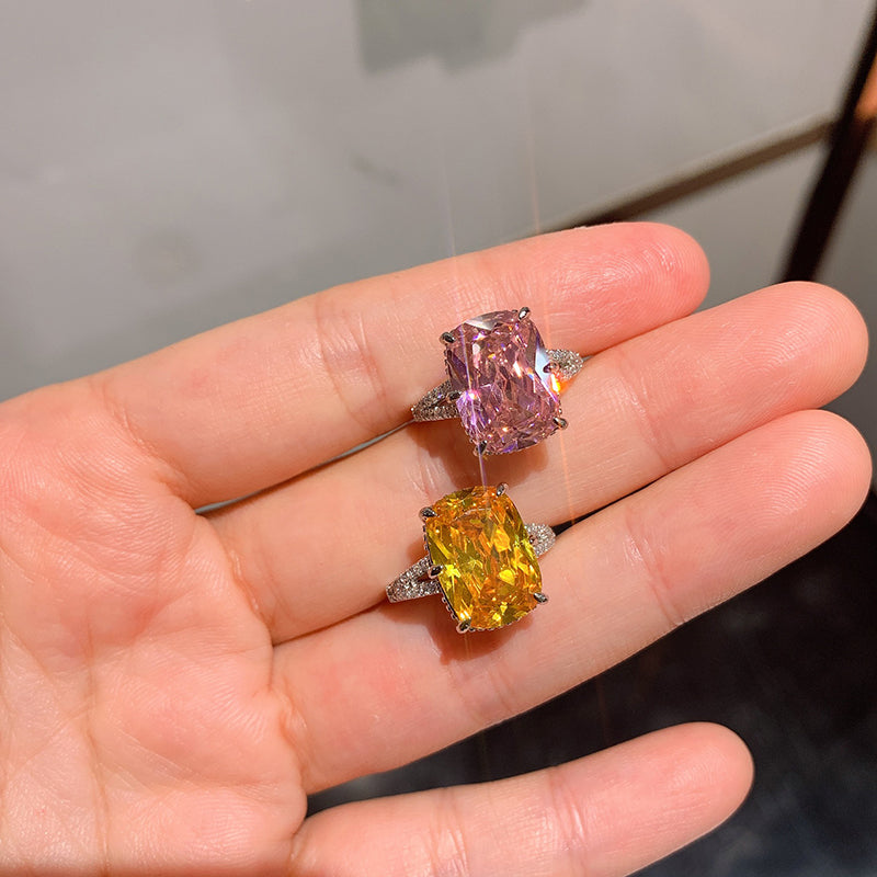 Split Shank Cushion Cut Yellow/Pink Created Diamond Ring with Adjustable Size