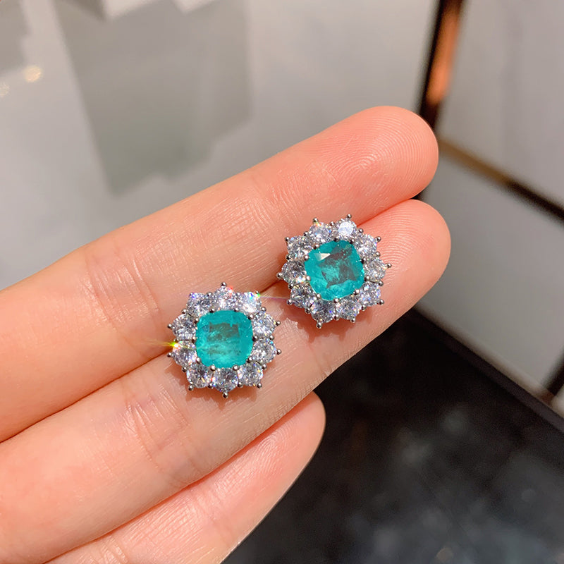 Halo Cushion Cut Lab Created Paraiba Stud Earrings