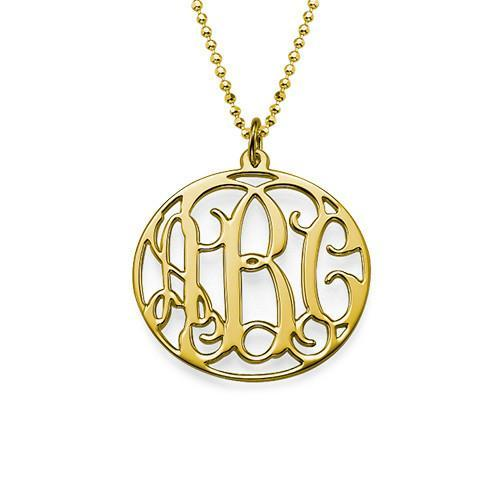 18k Gold Plated Circle Monogram Necklace with Adjustable Chain