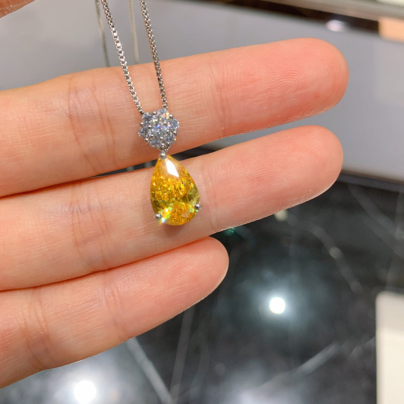 Pear Shape Yellow Created Diamond Pendant Necklace Chain 18''
