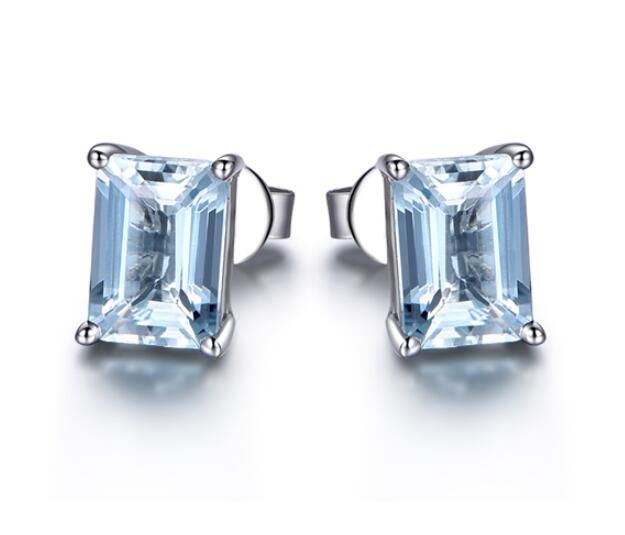 Mini Emerald Blue Topaz Gemstone Stud Earrings