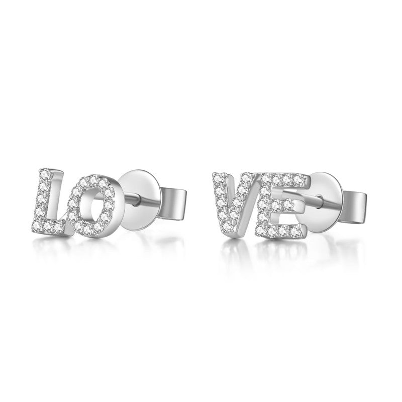 14K Solid Gold Love Stud Earring Exclusively Handcrafted 0.148 Carat Natural Diamond (H-F Color, VS1-VS2 Clarity)