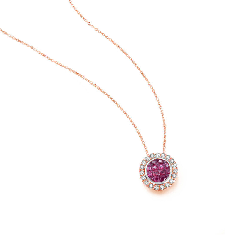 18K Solid Gold Natural 0.248ct Diamond (G-H, SI1-SI2) Pink Sapphire Necklace