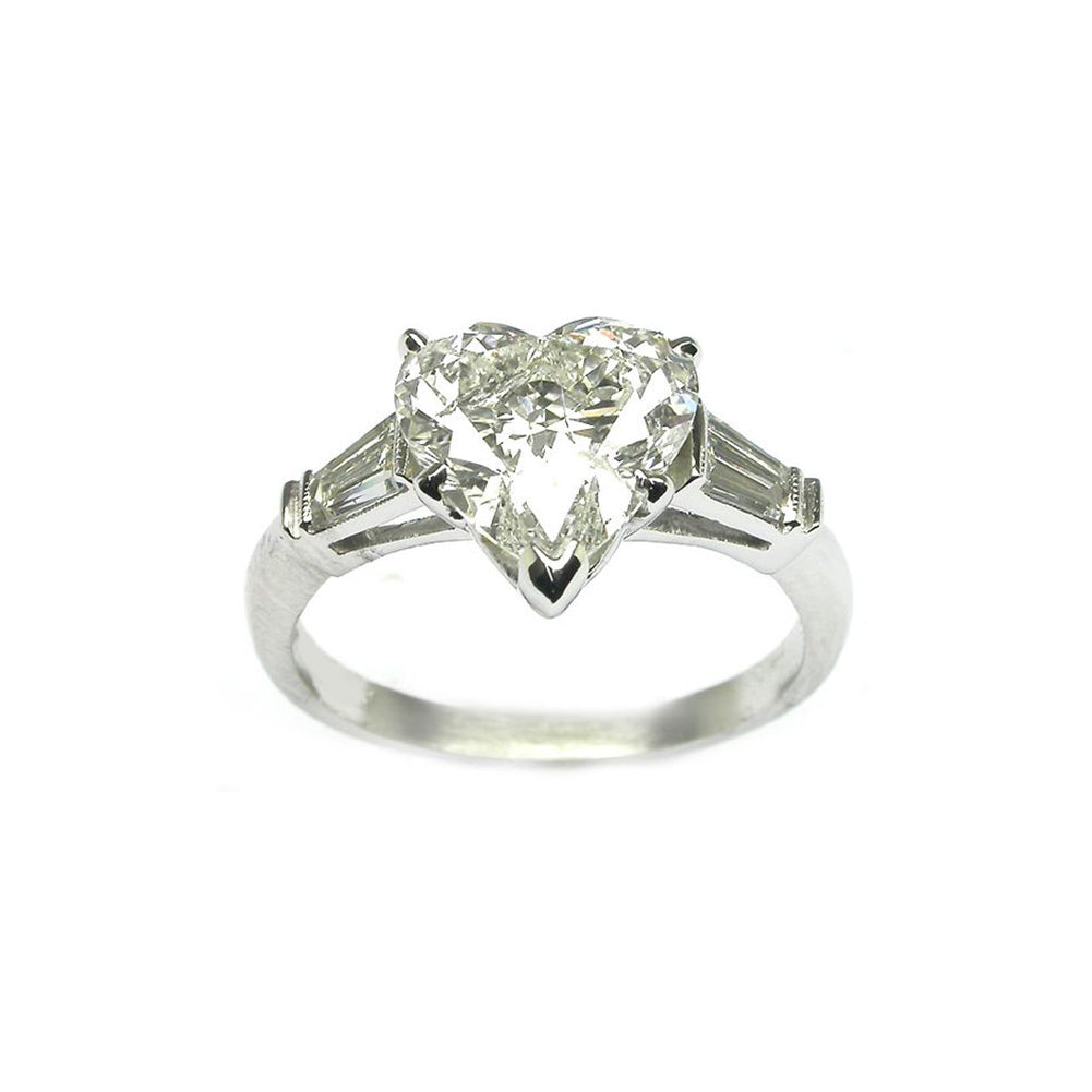 Three Stone Heart Created White Diamond Baguette Ring
