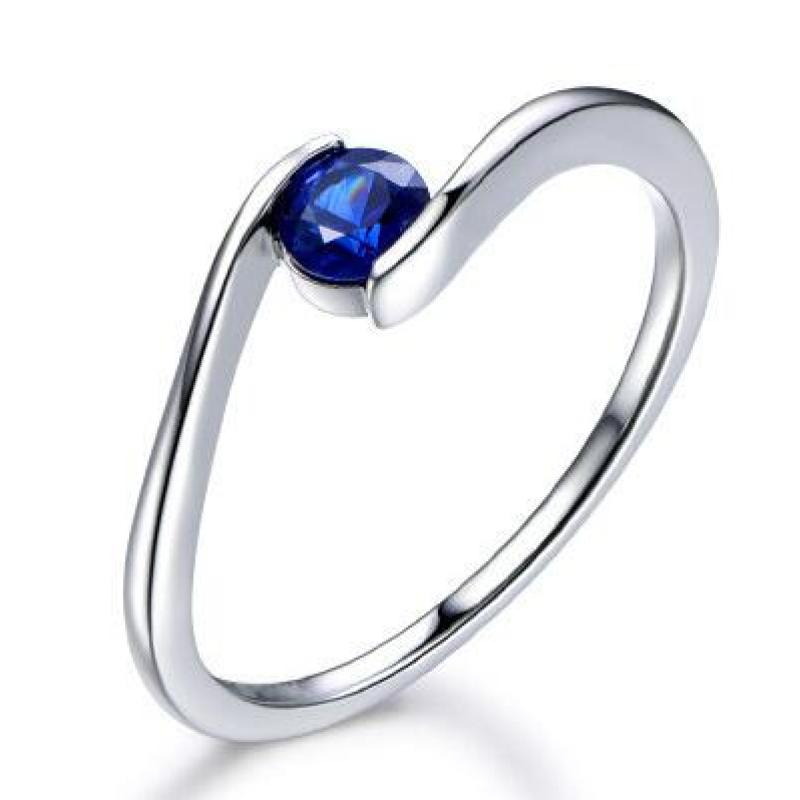 Created Blue Diamond Solitaire Rings