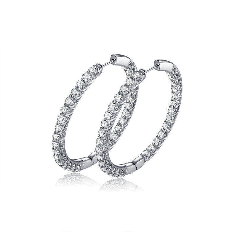 Round Circle White Created Diamond Hoop Earrings