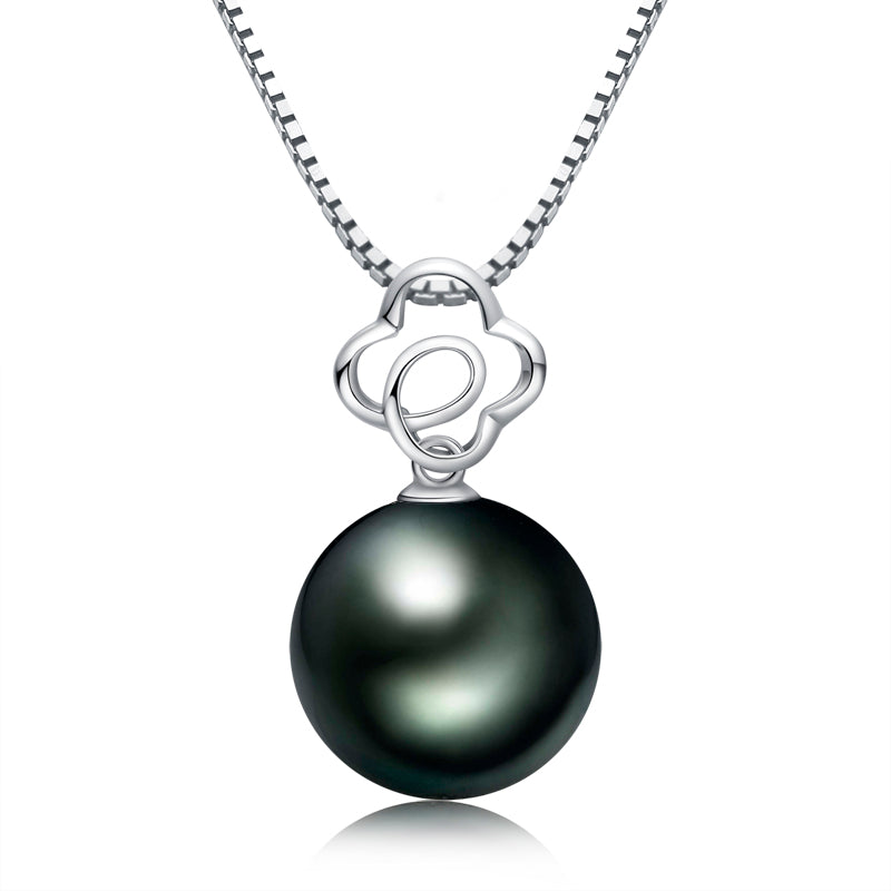 Genuine Black Tahitian South Sea Cultured Pearl Pendant Necklace for Women