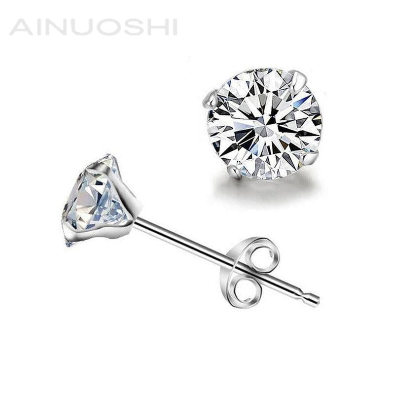 Classic Round Created White Diamond Stud Earrings