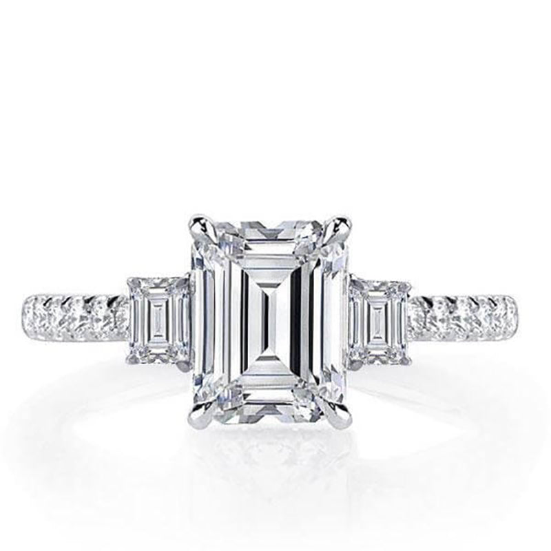 Emerald Cut Created Diamond 3 Stone Ring