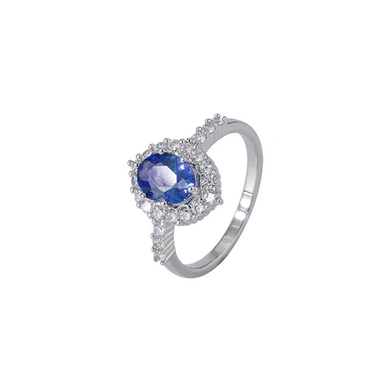 Oval Cut Vintage Lab Created Sapphire Halo Ring