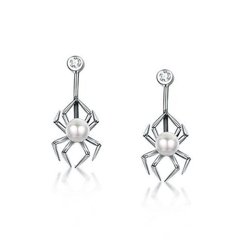 Spider Design Round Cut Pearl Drop Earrings