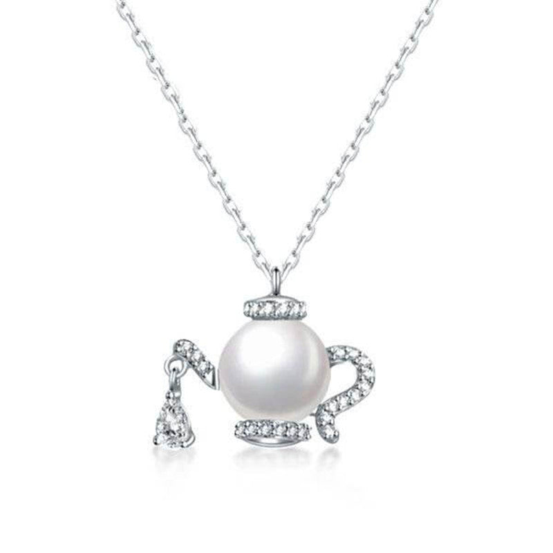 Special Kettle Design Round Created Diamond Pearl Pendant Necklace