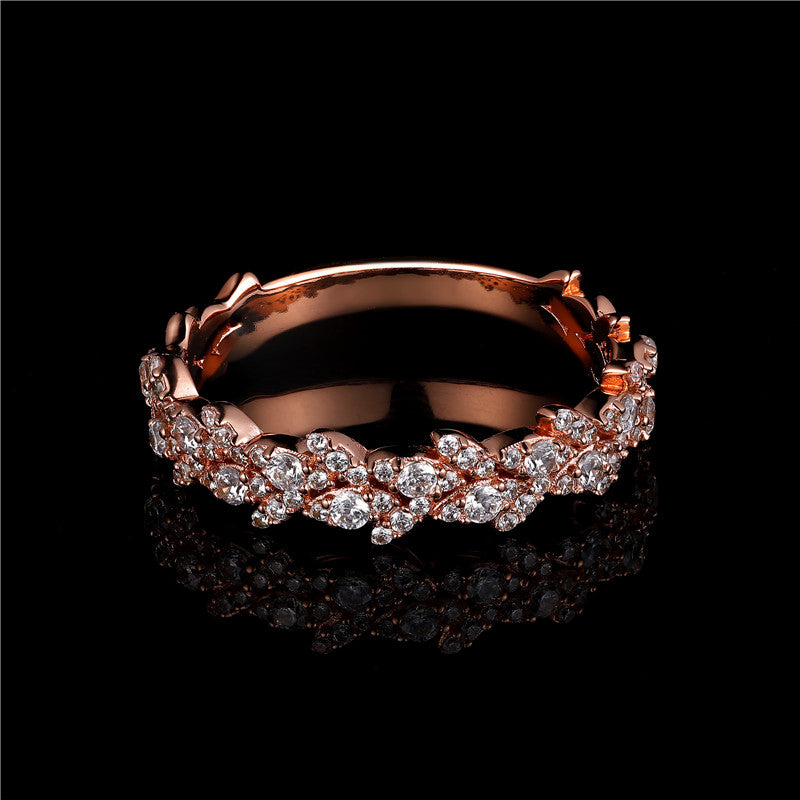 Rose Gold Created Diamond Half Eternity Ring