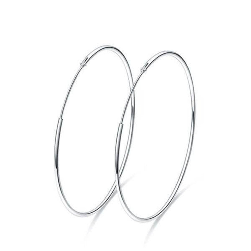 Simple Smooth Silver Hoop Earrings