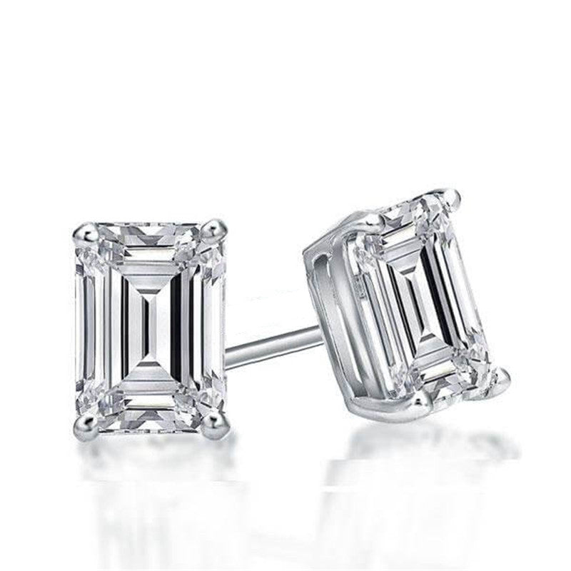 Emerald Created White Diamond Stud Earrings