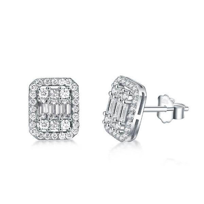 Halo Round Baguette Cut Created White Diamond Stud Earrings