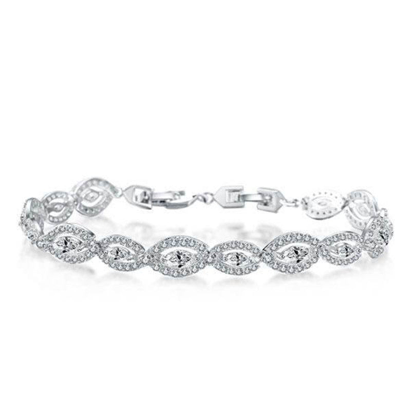 Halo East West Round & Marquise Created Diamond Bracelet