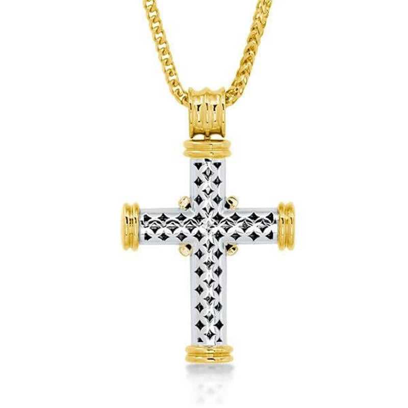 Golden Design Round Created Diamond Cross Pendant Necklace
