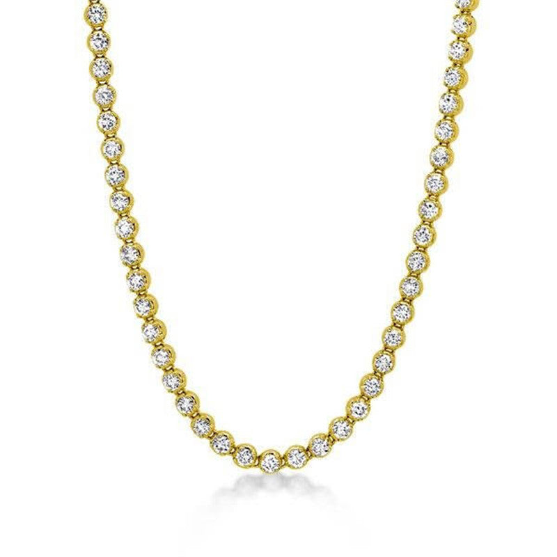 Classic Golden Round Created Diamond Tennis Necklace