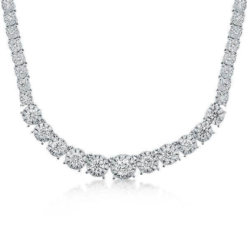 Halo Round Created White Diamond Necklace