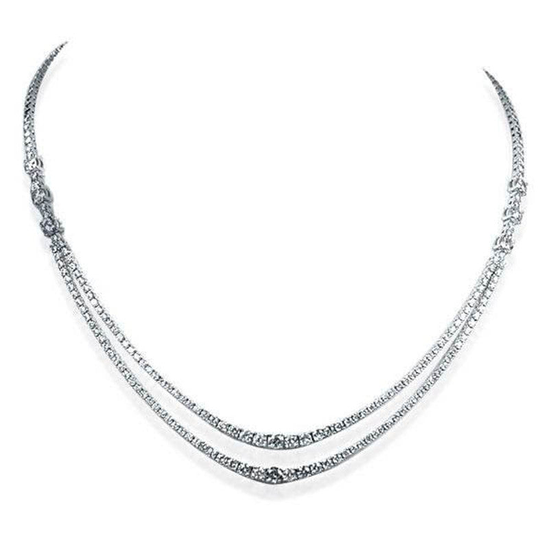 Unique Design Round Created Diamond Double Chain Necklace