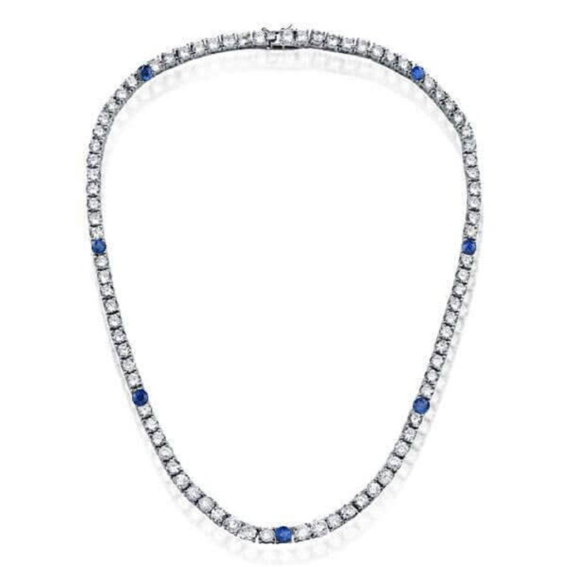 Classic Blue & White Round Created Diamond Tennis Necklace