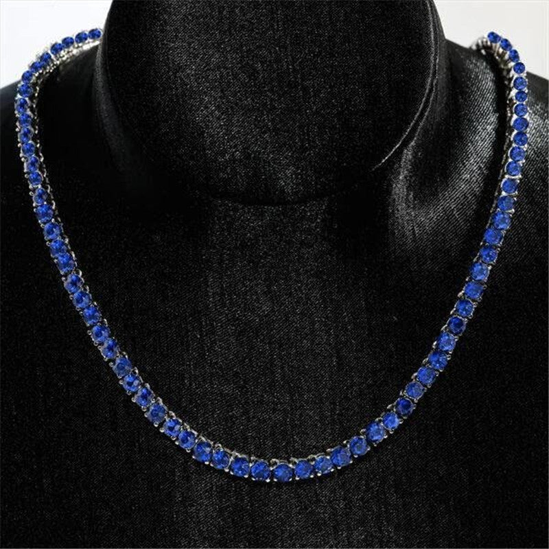 Classic Round Created Blue Diamond Tennis Necklace