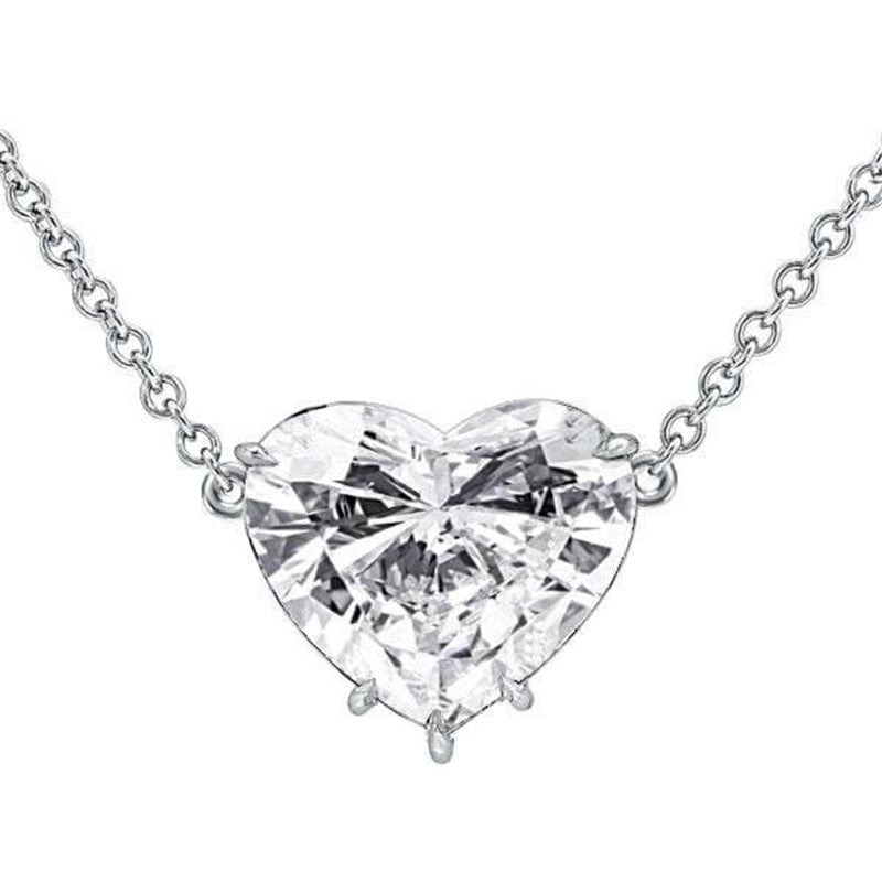 Classic Heart Cut Created White Diamond Pendant Necklace