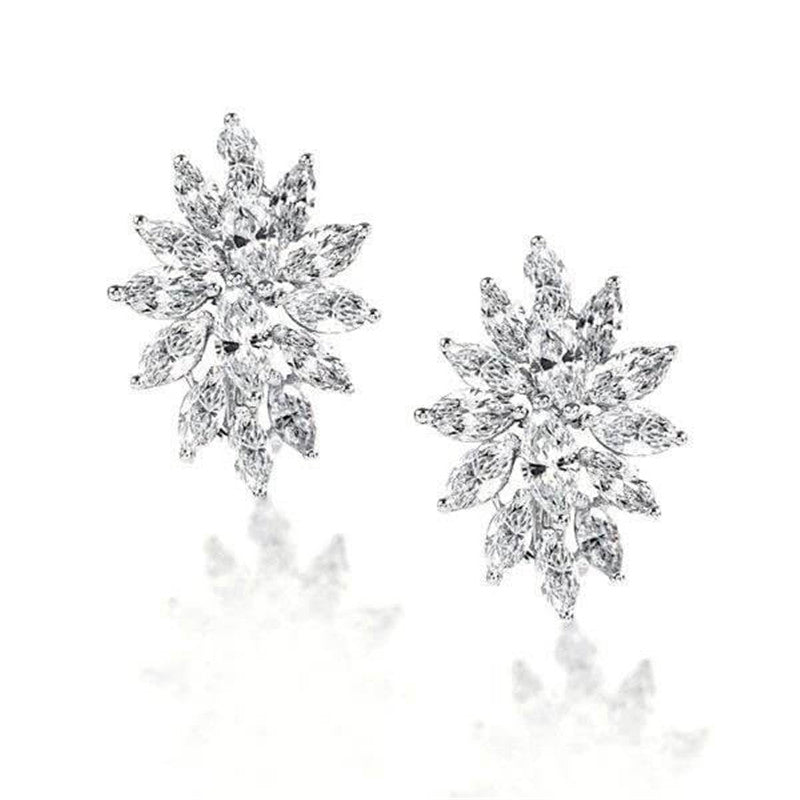 Flower Design Marquise Cut Created Diamond Stud Earrings