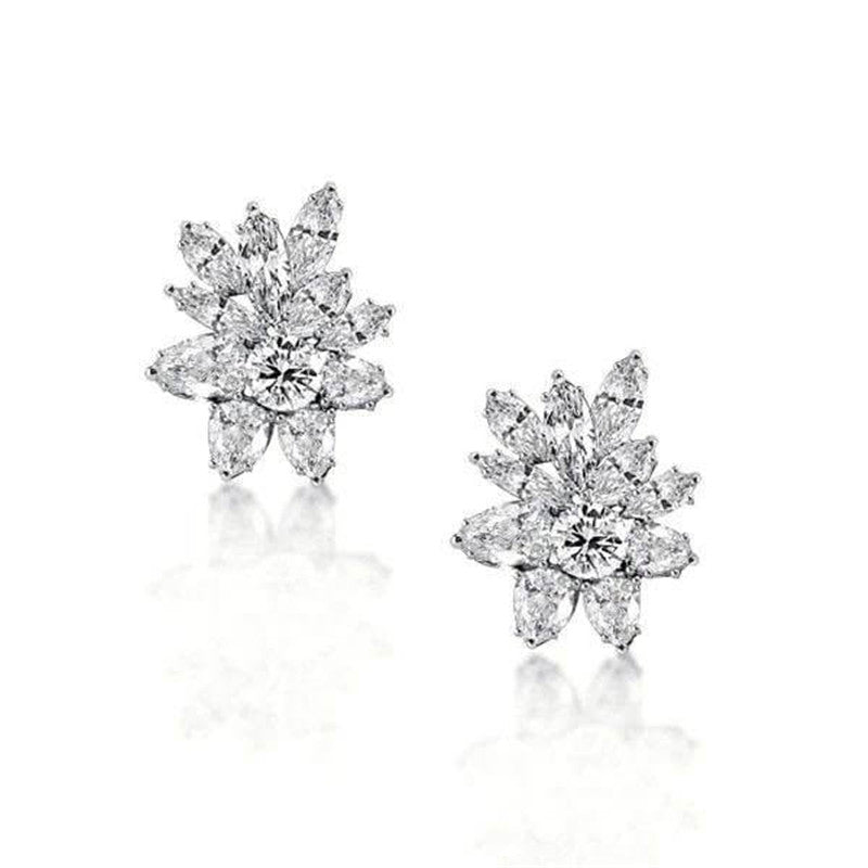 Round & Marquise Cut Created White Diamond Stud Earrings