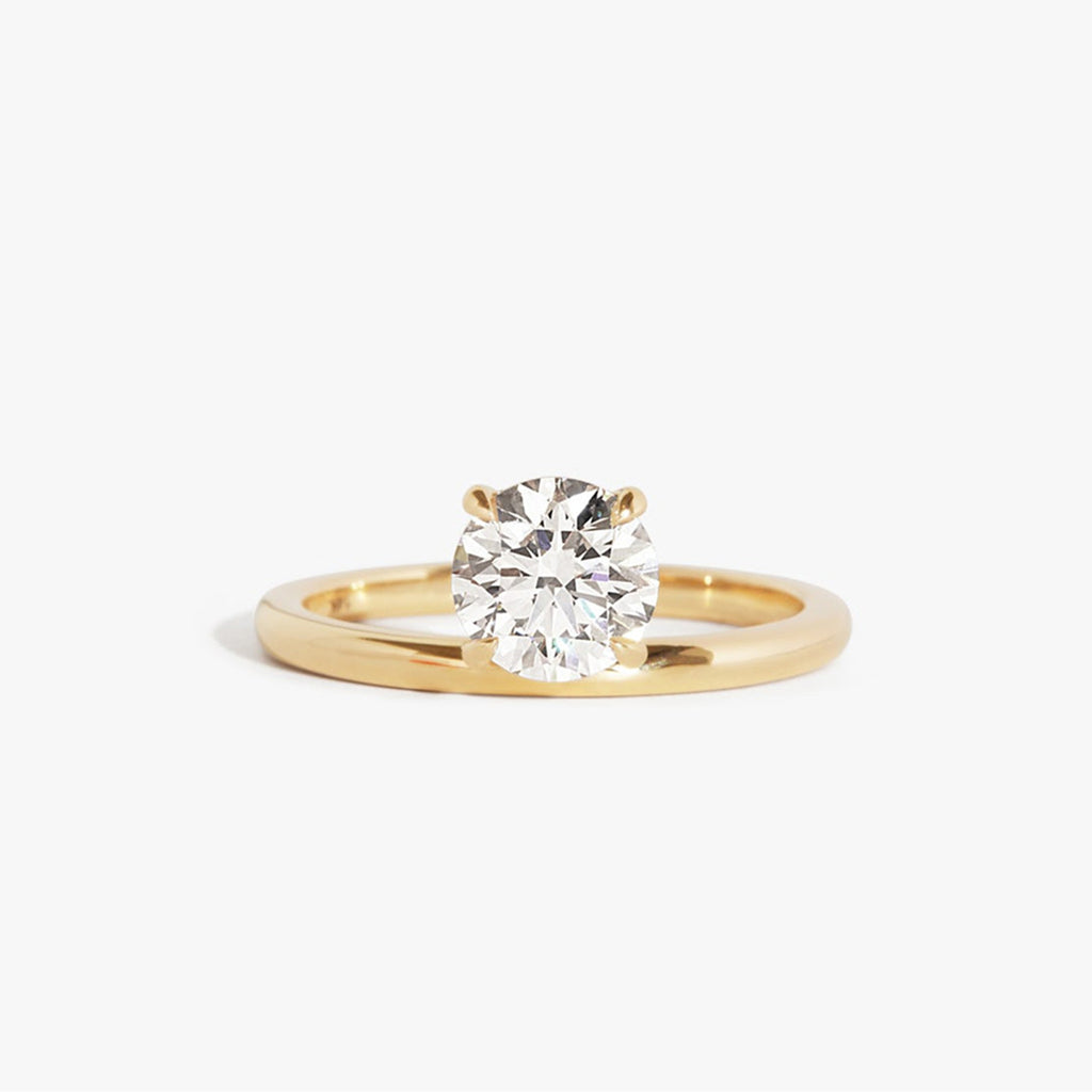 Unique Design Yellow Gold Round Brilliant Created Diamond Solitaire Ring